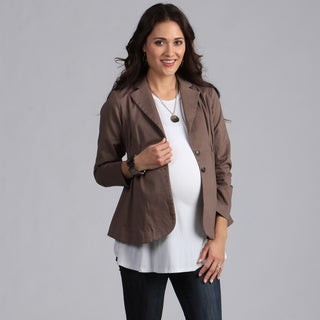 Ashley Nicole Maternity Brown Button-front Career Jacket