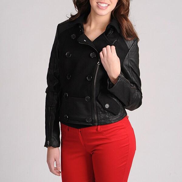 Latte Black Juniors Mixed Media Fashion Jacket