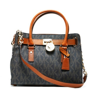 MICHAEL Michael Kors Hamilton East/West Brown Logo Satchel