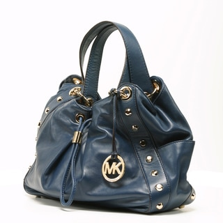 Michael Kors Women's 'Ludlow' Navy Leahter Studded Shoulder Bag