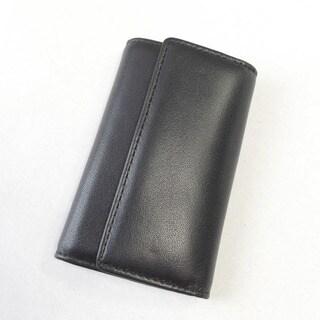 Joseph Daniel Men's Black Napa Leather Key Hook Case Wallet