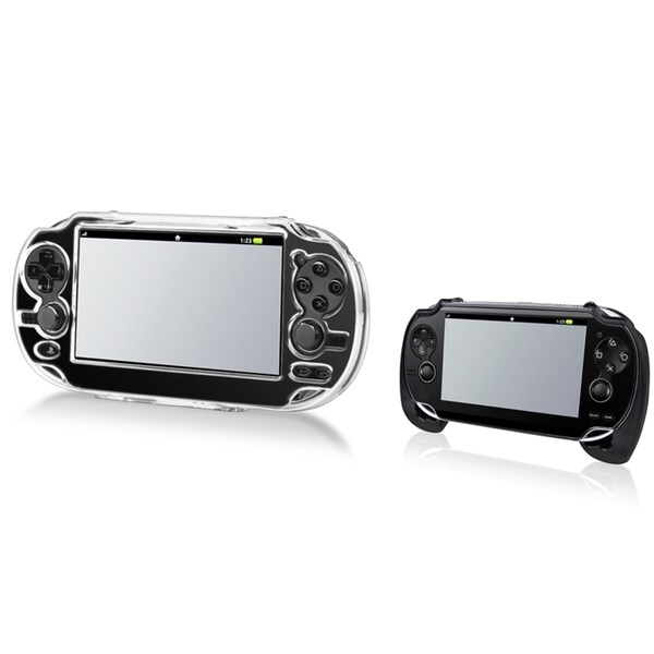 INSTEN Black Hand Grip/ Clear Crystal Case Cover for Sony Playstation Vita