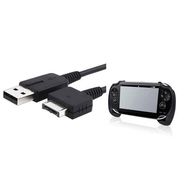 INSTEN Black Hand Grip/ USB Charging Cable for Sony Playstation Vita
