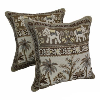 Blazing Needles 'Elephants with Palm Trees' Tapestry Corded Throw Pillows (Set of 2)