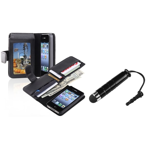 INSTEN Leather Wallet Phone Case Cover/ Mini Stylus for Apple iPhone 4/ 4S