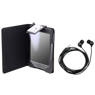 BasAcc Black Leather Case with Light/ Headset for Amazon Kindle 4