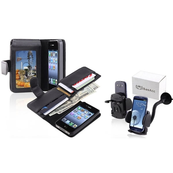 INSTEN Phone Case Cover with Card Holder/ Windshield Mount for Apple iPhone 4/ 4S