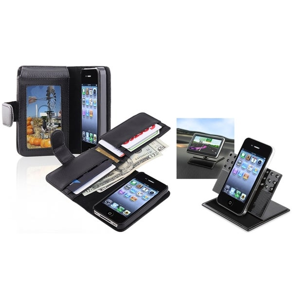 INSTEN Phone Case Cover with Card Holder/ Dashboard Mount for Apple iPhone 4/ 4S