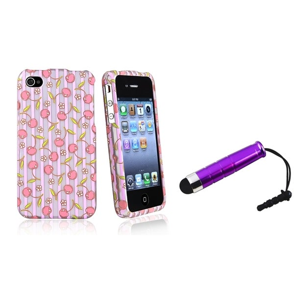 BasAcc Pink Cherry/ Purple Stripe Case/ Stylus for Apple iPhone 4/ 4S