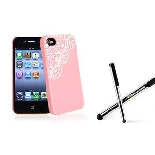 BasAcc Pink/ Lace Pearl Case/ Stylus for Apple iPhone 4/ 4S