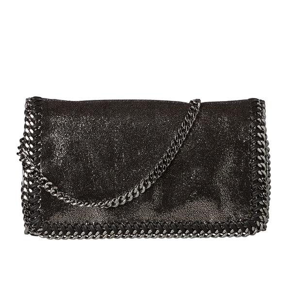 Stella McCartney Metallic Black Whipstitched Mini Crossbody Bag