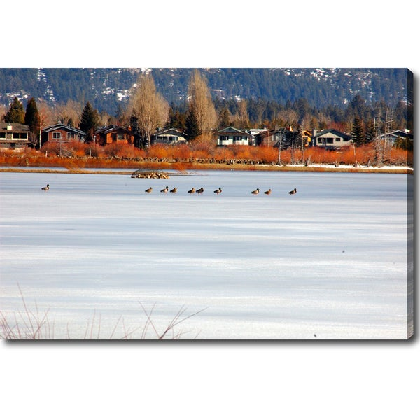 'Crossing a Frozen Lake - Lake Tahoe' Canvas Art