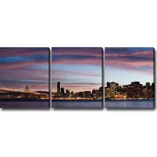 'Night of San Francisco' Gallery-Wrapped Canvas Art (Set of Three)