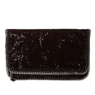 Stella McCartney 'Falabella' Black Sequin Embellished Fold-over Clutch