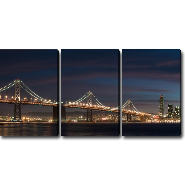 'A Night at the San Francisco Bay Bridge' Canvas Art (Set of 3)