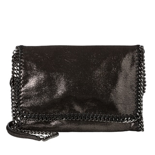 Stella McCartney 'Falabella' Metallic Black Chamois Crossbody Bag