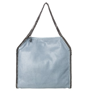 Stella McCartney 'Falabella' Small Light Blue Shaggy Deer Tote Bag