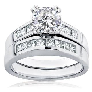 Annello 14k Gold Cushion-cut Moissanite and 3/5ct TDW Diamond Bridal Ring Set (H-I, I1-I2) with Bonus Item