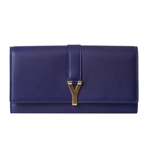Yves Saint Laurent 'Y Line' Large Deep Blue Leather Flap Wallet