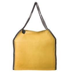 Stella McCartney 'Falabella' Small Yellow Shaggy Deer Tote Bag