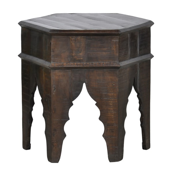 Kosas Home Vintage Brown Octagonal Wood Stool