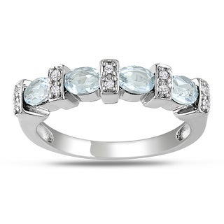 Miadora Sterling Silver 1ct TGW Blue Topaz and Diamond Ring