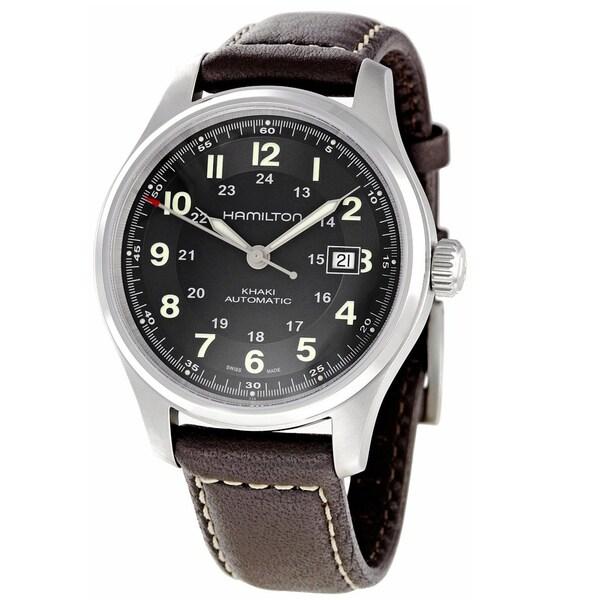 Hamilton Men's 'Khaki' Titanium Black Dial Watch