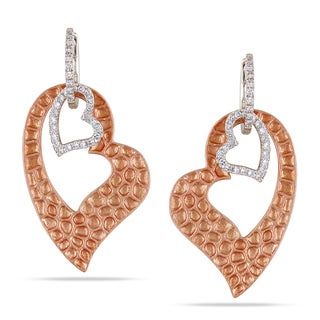 Miadora 14k Two-tone Gold 1/3ct TDW Diamond Heart Earrings (G-H, SI2)