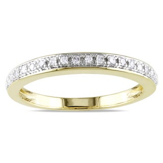 Miadora 14k Yellow Gold 1/10ct TDW Diamond Wedding Band (G-H, I1-I2)