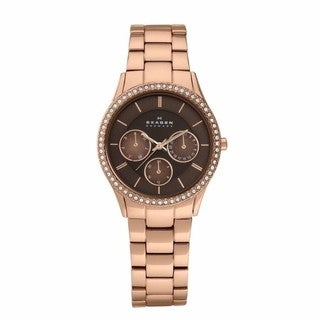 Skagen Women's Rose Goldtone Brown Chronograph Watch