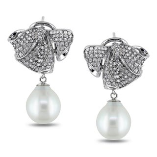 Miadora 18k White Gold South Sea Pearl 1ct TDW Diamond Earrings (G-H, SI1-SI2)