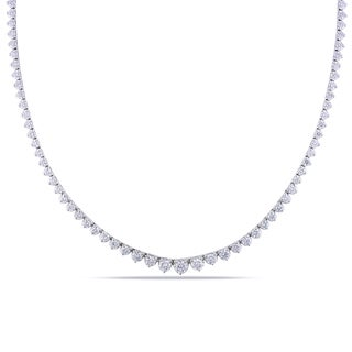 Miadora 18k White Gold 7ct TDW Diamond Tennis Necklace (F-G, VS1-VS2)