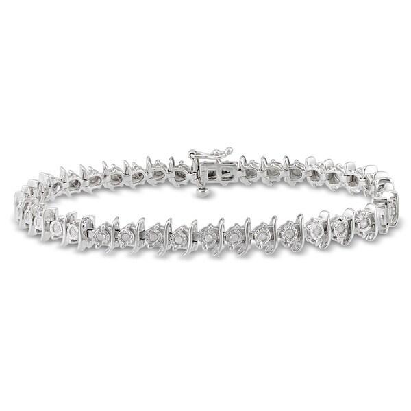 Haylee Jewels Sterling Silver 2/5ct TDW Diamond Bracelet (I-J, I2-I3)