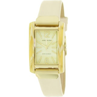 Anne Klein Women's Beige Leather Strap Watch