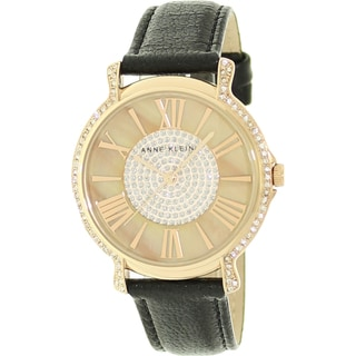 Anne Klein Women's Crystal-accented Mother of Pearl Dial Watch
