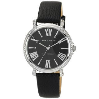 Anne Klein Women's Brown Leather Strap Black Dial Watch