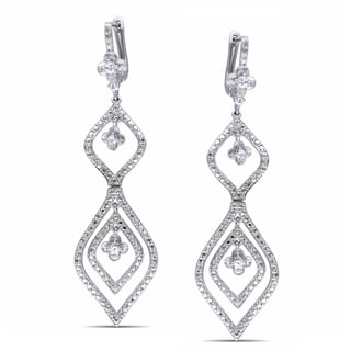 Miadora Sterling Silver White Sapphire and Diamond Earrings