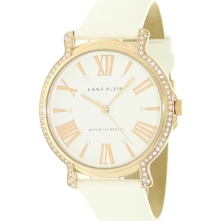 Anne Klein Women's White Leather Crystal-accented Watch