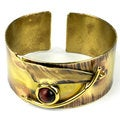 Handcrafted Blade and Red Tiger Eye Brass Cuff (South Africa)