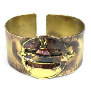 Handcrafted Brass and Copper 'Captured Triangle' Cuff (South Africa)