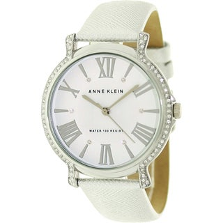 Anne Klein Women's Crystal-Accented Leather Strap Watch