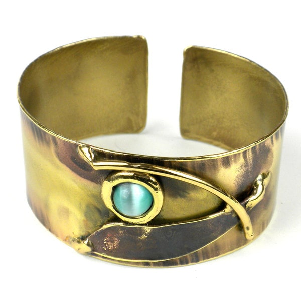 Handcrafted Blade and Aqua Brass Cuff (South Africa)