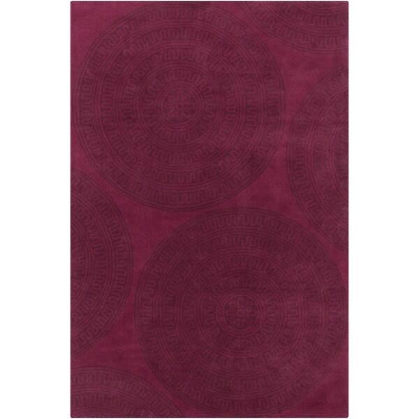 Allie Handmade Geometric Wine Wool Rug (5' x 7'6)