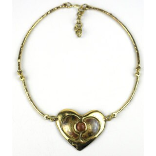 Handcrafted Peach Tiger Eye Brass Heart Necklace (South Africa)