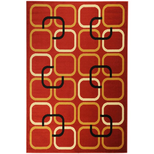 Ottomanson Paterson Collection Abstract Red Area Rug (3'3 x 4'7)