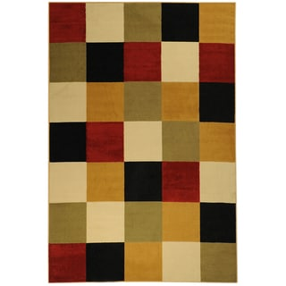 Paterson Collection Checkered Multi-color Area Rug (8'2 x 9'10)