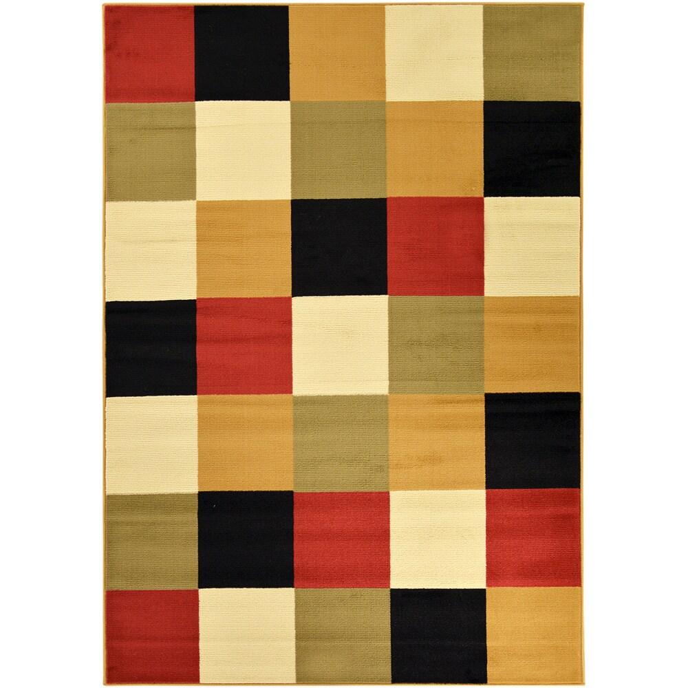 Checkerboard Rug: Paterson Collection Checkered Multi-color Area Rug (5' X 7