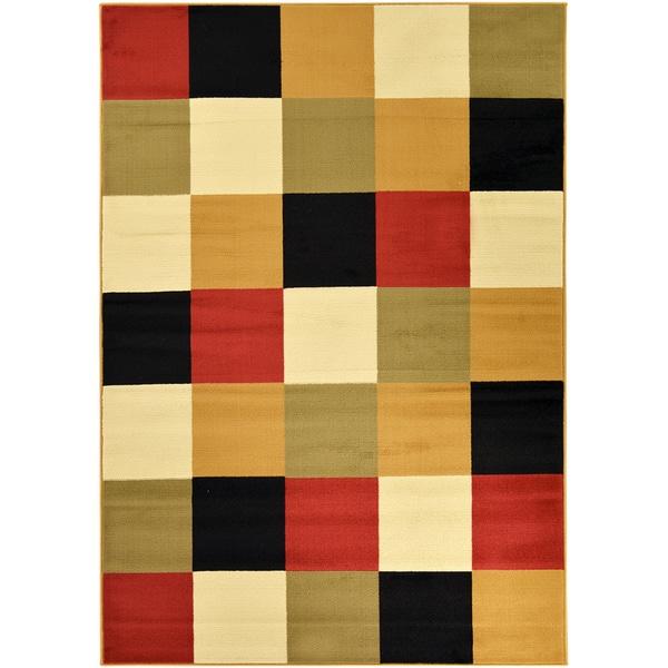Paterson Collection Checkered Multi-color Area Rug (5' X 7