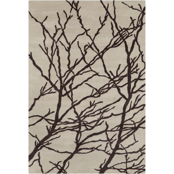 Allie Handmade Floral Cream/ Brown Wool Rug (5' x 7'6)