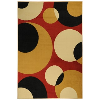 Paterson Collection Contemporary Abstract Circles Red Polypropylene Area Rug (8'2 x 9'10)